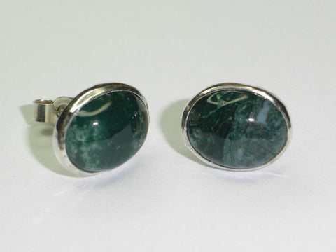 Moss Agate & Sterling Silver Oval Stud Earrings | Handmade in Scotland – Jewellery by Callum Kilts