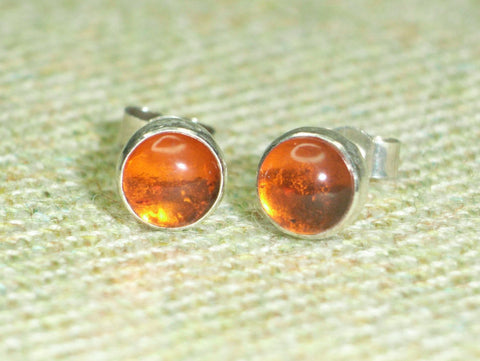 Amber & Sterling Silver Stud Earrings | Handmade in Scotland – Jewellery by Callum Kilts