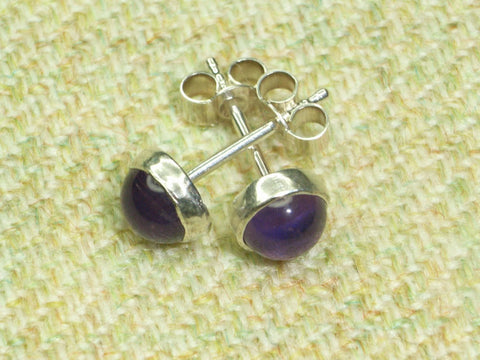 Amethyst & Sterling Silver Stud Earrings | Handmade in Scotland – Jewellery by Callum Kilts