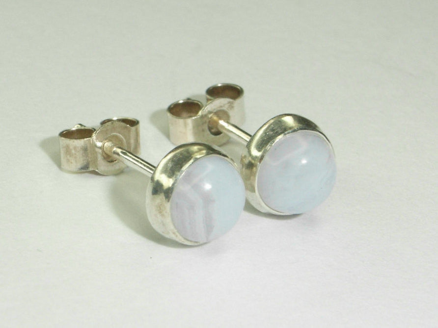 Blue Lace Agate & Sterling Silver Stud Earrings | Handmade in Scotland – Jewellery by Callum Kilts