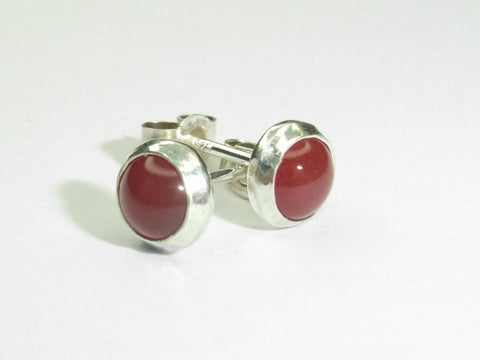 Carnelian & Sterling Silver Stud Earrings | Handmade in Scotland – Jewellery by Callum Kilts