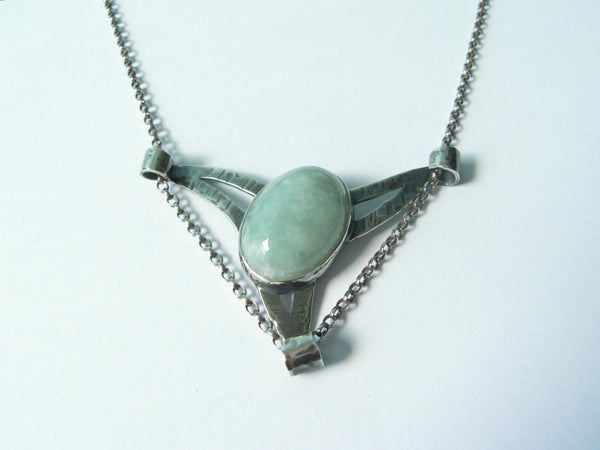 "Jade & Sterling Silver ""Winged"" Pendant with Scrolls"