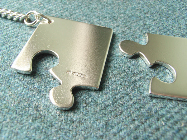 "Solid Silver Jigsaw ""Couples"" Key Rings"