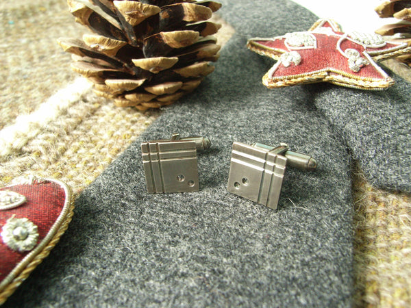 """Mondrian-esque"" Geometric Cufflinks in Sterling Silver"