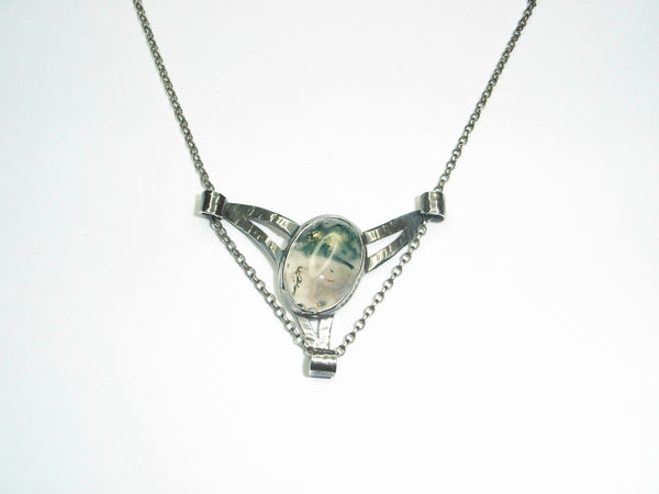 "Moss Agate & Sterling Silver ""Winged"" Pendant with Scrolls"