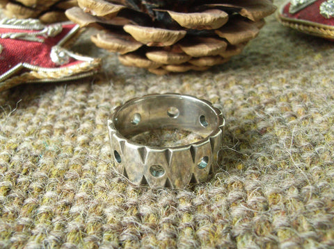 Chunky Sterling Silver Notched Ring