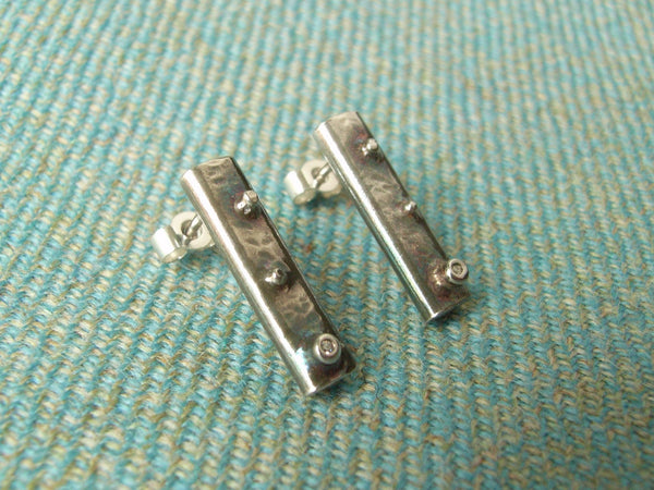 Silver Ingot Earrings with Raised Nubs & Cubic Zirconia - Medium
