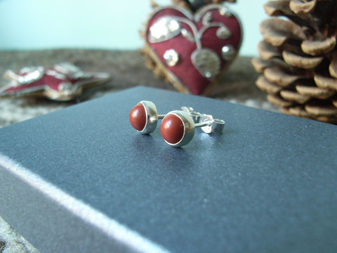 Red Jasper & Sterling Silver Stud Earrings