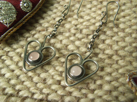 "Rose Quartz & Sterling Silver ""Heartberry"" Earrings"