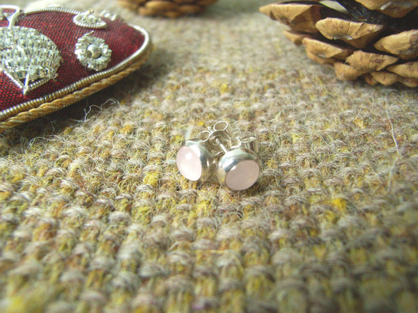 Rose Quartz & Sterling Silver Stud Earrings
