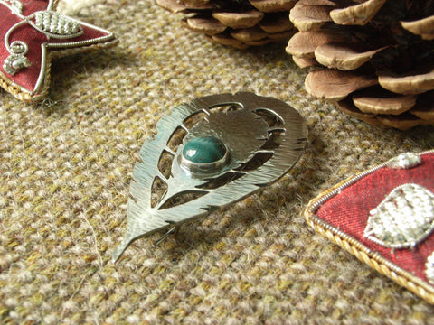 "Sterling Silver ""Feather"" Brooch set with Bloodstone"