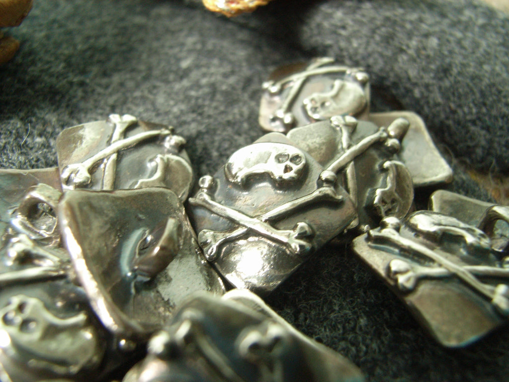 Skull & Crossbones Button in Sterling Silver