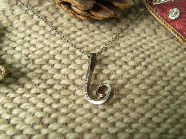 Hammered Silver Spiral Pendant