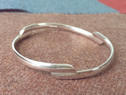 Stepped Bangle in Solid Sterling Silver