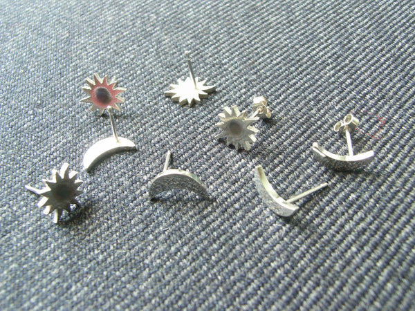 Sun & Moon Silver Stud Earrings
