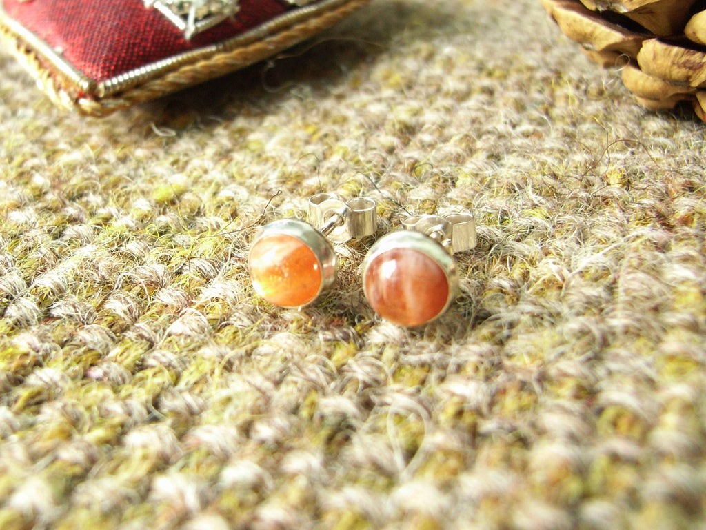 Sunstone & Sterling Silver Stud Earrings