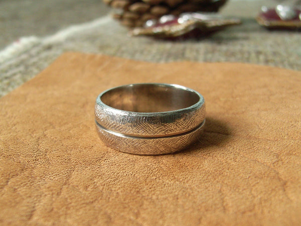 Textured Split-Barrel Silver Ring - Broad