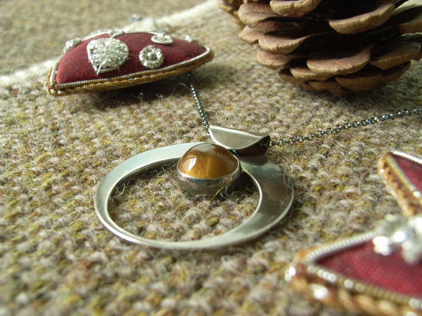 Tiger's Eye & Silver Crescent Pendant