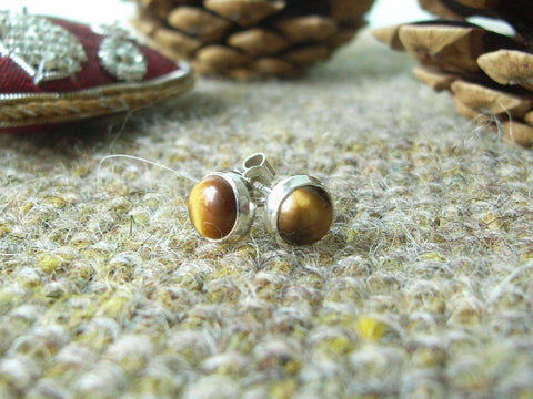 Tiger's Eye & Sterling Silver Stud Earrings