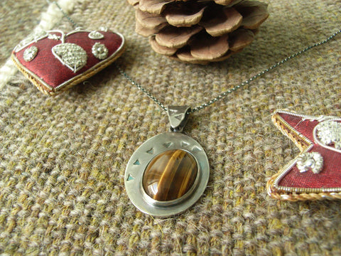 Tiger's Eye & Silver Pendant