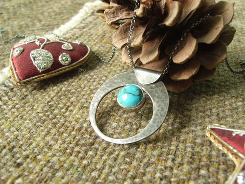 Turquoise & Silver Crescent Pendant