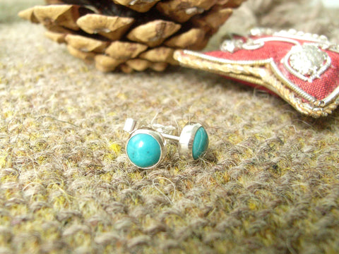 Turquoise & Sterling Silver Stud Earrings - Matrix