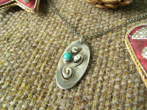 Turquoise & Silver Oval Spiral Pendant