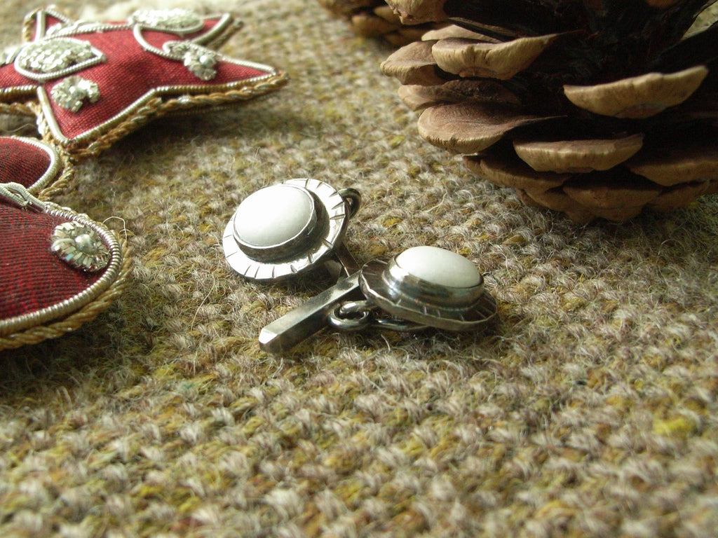 White Marble & Hammered Sterling Silver Oval Cufflinks