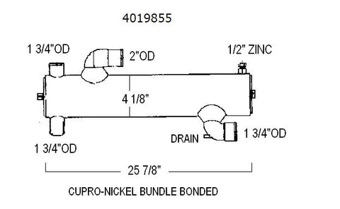 4019855 CUMMINS HEAT EXCHANGER | LE: 4019855CN | CUPRO NICKEL