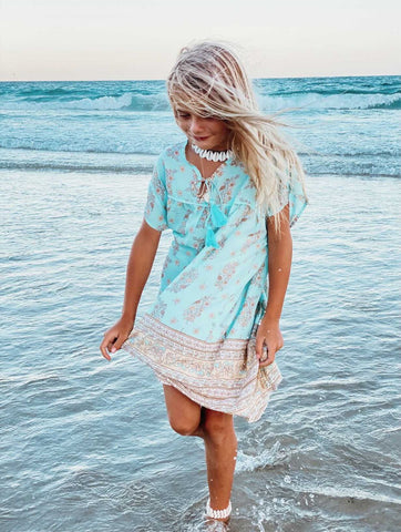 DAZIE BOHO DRESS- powder blue vintage floral