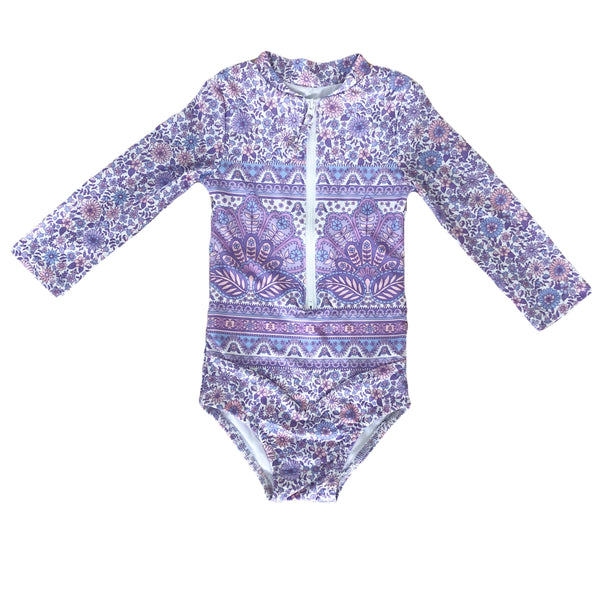 TULLY SURFSUIT ~ Peacock Floral in Lilac