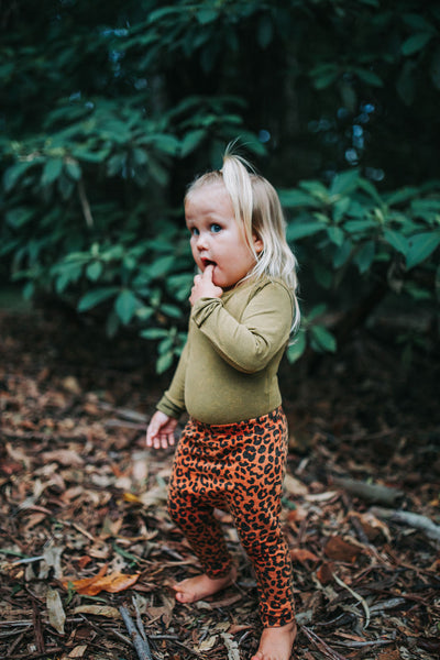 ELM BABY LEGGINGS || Rusty Leopard