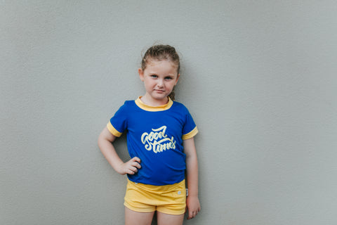 GIRLS RETRO TEE || Blue