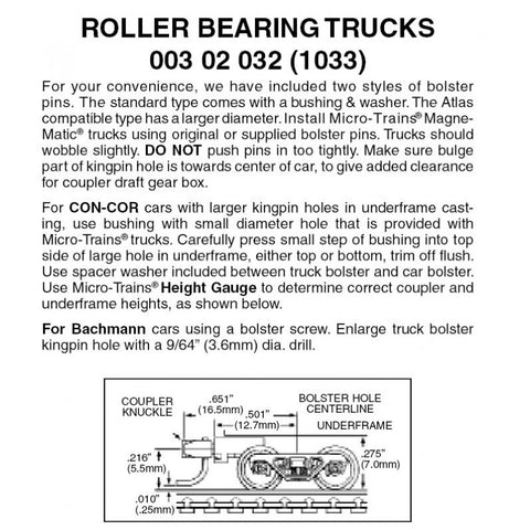 MICRO-TRAINS Roller Bearing Trucks w/Med. Ext Couplers 1Pr