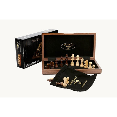 DAL ROSSI Chess Set Folding Walnut Inlaid 12""