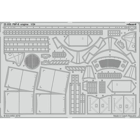 EDUARD 23033 1/24 F6F-5 Engine Photo-Etch Set (Airfix)