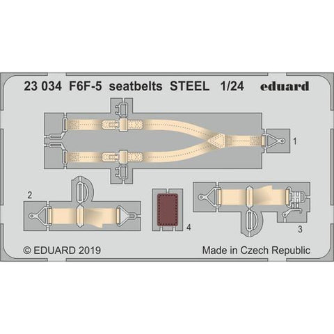 EDUARD 23034 1/24 F6F-5 Seatbelts Steel Photo-Etch Set (Air