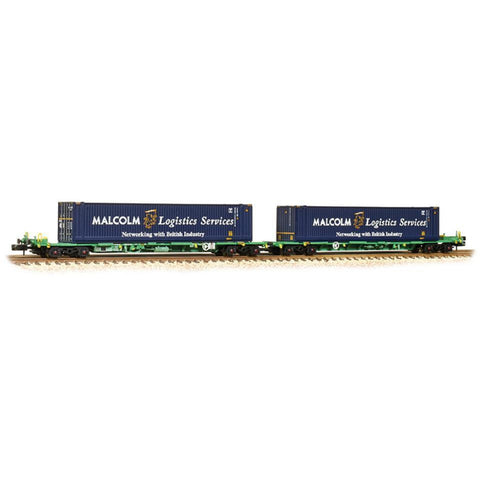 GRAHAM FARISH Intermodal Bogie Wagons 45ft Containers 'Malcolm Logistics' - Hearns Hobbies Melbourne - GRAHAM FARISH