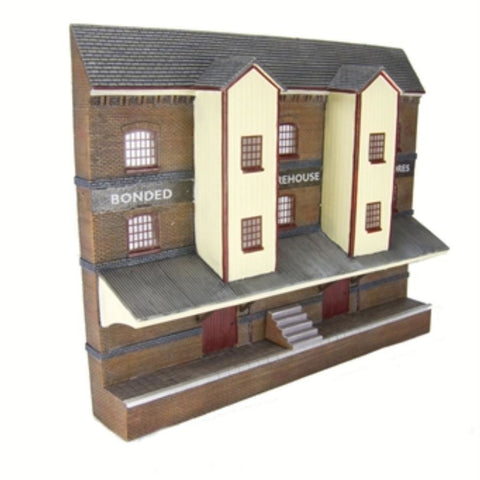 SCENECRAFT OO  Low Relief Bonded Warehouse 220mm x 48mm x 178mm