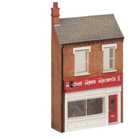 SCENECRAFT OO  Low Relief 'Rocket Ron's Record Shop' 61mm x 20mm x 110mm