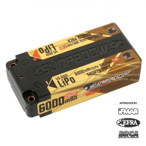 Sunpadow 7.6V 2S HV 6000mAh 100C/50C Shorty LiPo Battery (5