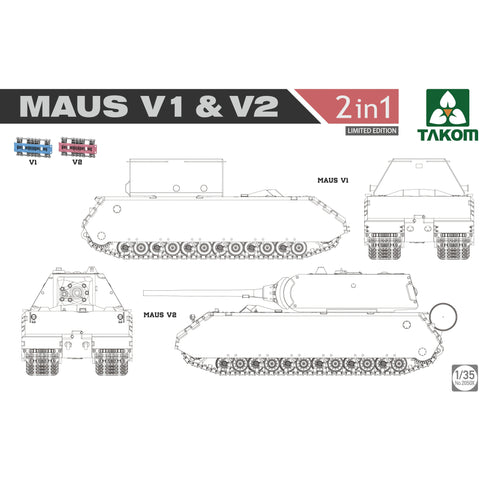 TAKOM 2050X 1/35 WWII Maus V1 & V2 2 in 1 (Limited Edition)