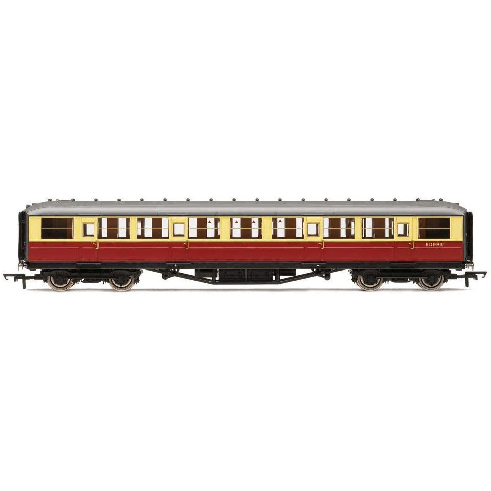 "HORNBY BR (EX-LNER) 61'6"" GRESLEY CORRIDOR 3RD CLASS COACH, CRIMSON AND CREAM"