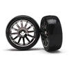 TRAXXAS 12-SP BLK WHEELS, SLICK TIRES (7573A)