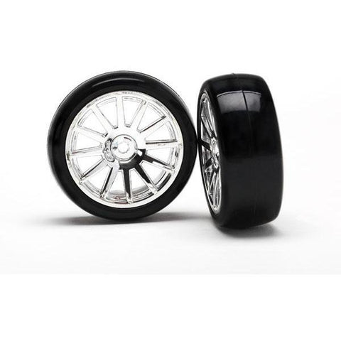 TRAXXAS 12-SP CHROME WHEELS, SLICK TYRES (7573)