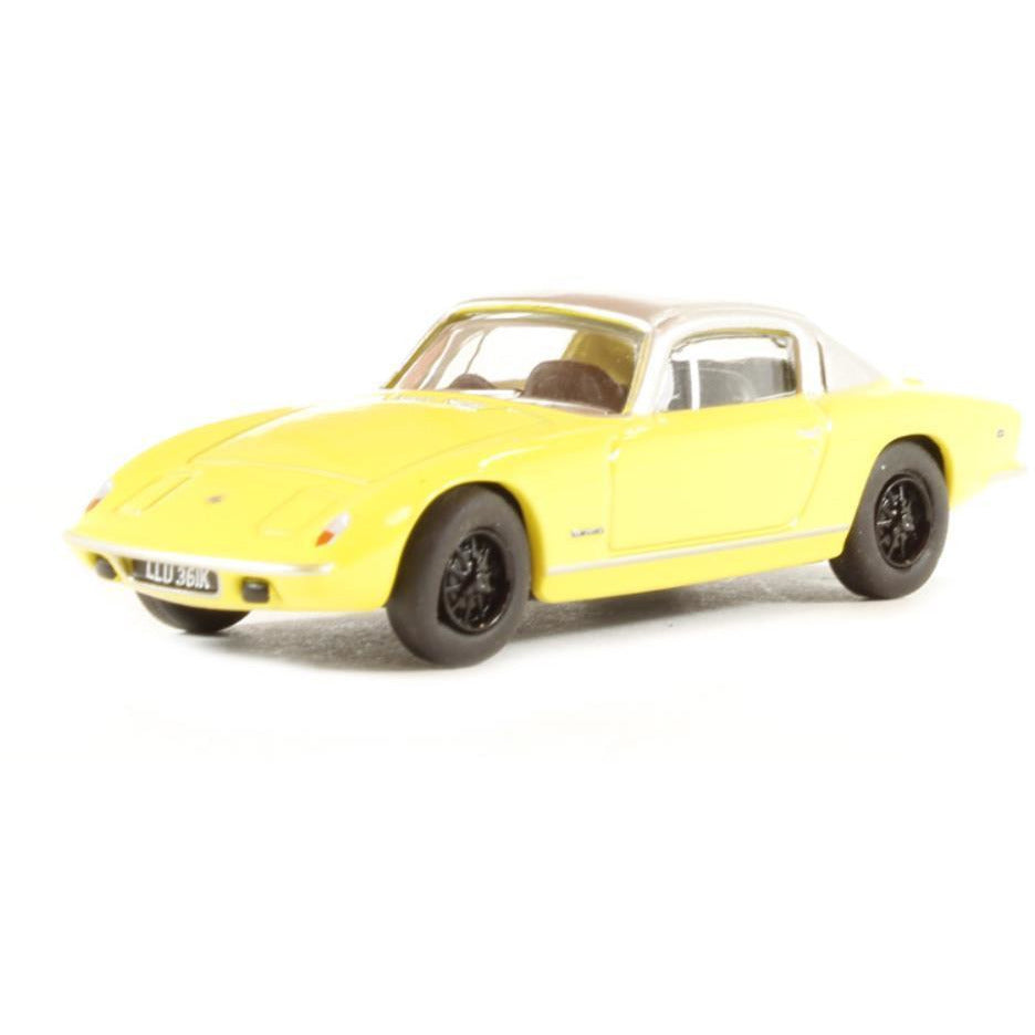 OXFORD 1/76 Lotus Elan Plus 2 Yellow/Silver - Hearns Hobbies Melbourne - Oxford