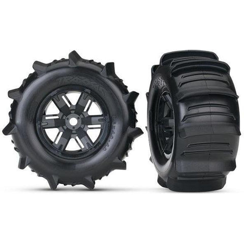 TRAXXAS TIRES & WHEELS, ASSEMBLED (LEFT & RIGHT) (2) (7773)