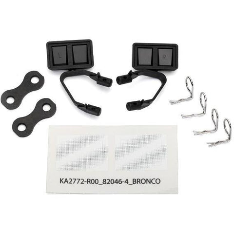 Image of TRAXXAS MIRRORS, SIDE, BLACK (L&R) RETAINERS (2) (8073)