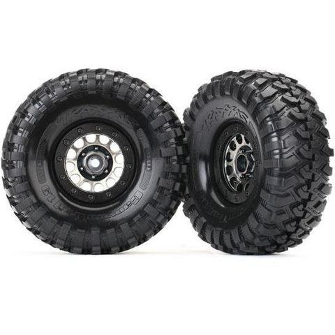 Image of TRAXXAS TIRES & WHEELS, ASS 105 BLACK CHROME BEADLOCK, CANY