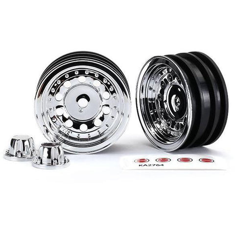 Image of TRAXXAS Wheels, 1.9', Chrome (2)/ Centre Caps (2) (8175)
